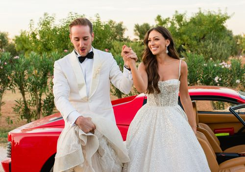 bride and groom leave car
