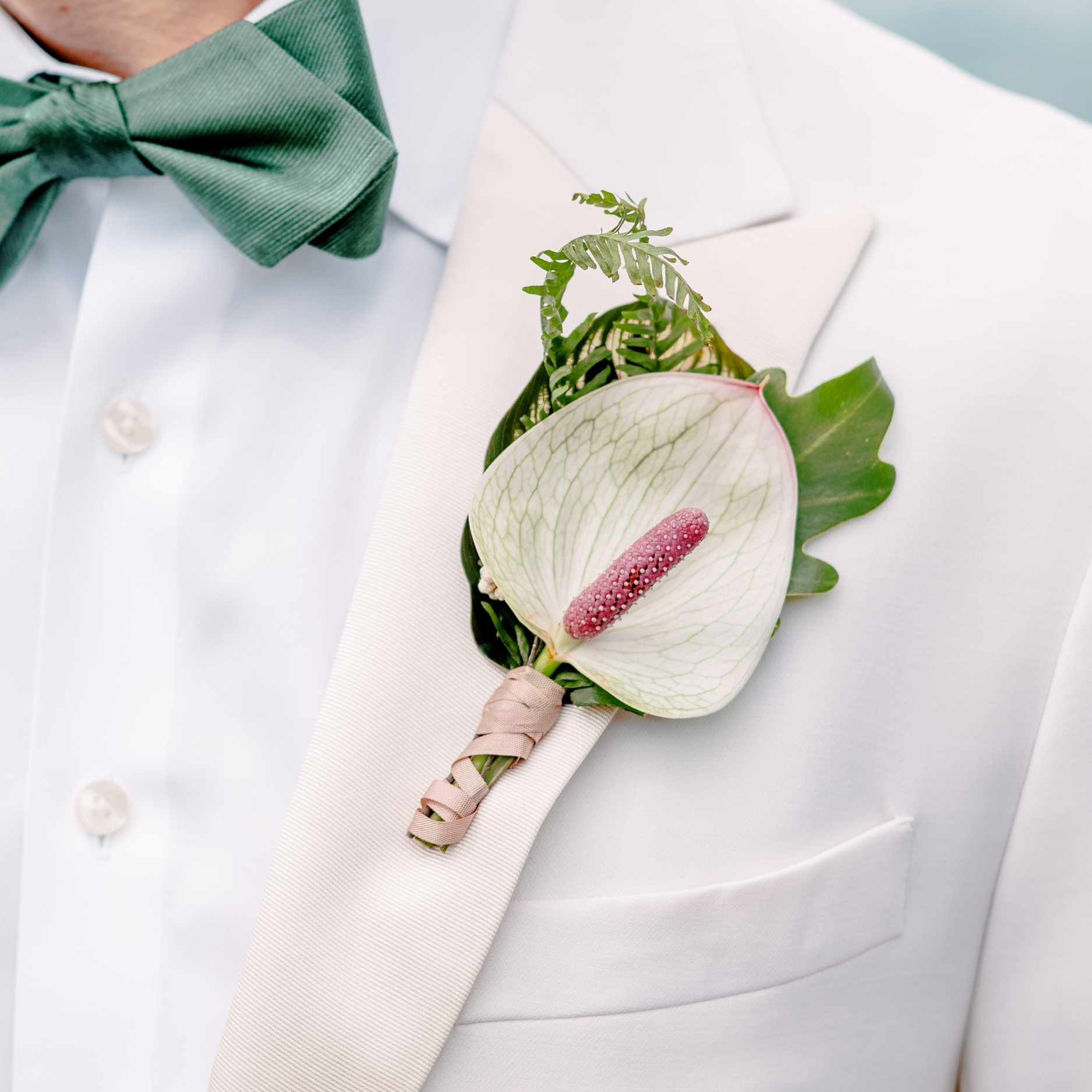 anthurium fantasia and greenery boutonniere