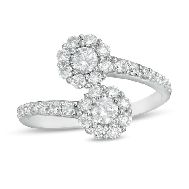 Zales Certified Lab-Created Diamond Bypass Ring in 14k White Gold