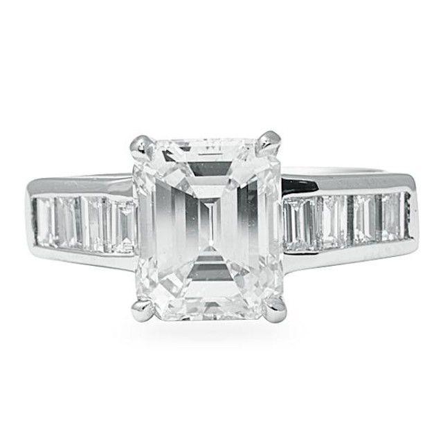 Lauren B. Jewelry Emerald-Cut Diamond Engagement Ring