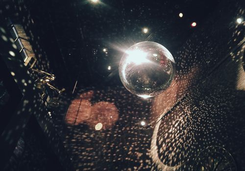 <p>Disco ball in nightclub</p>