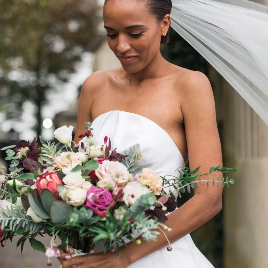 Bridal portrait with slicked back hair
