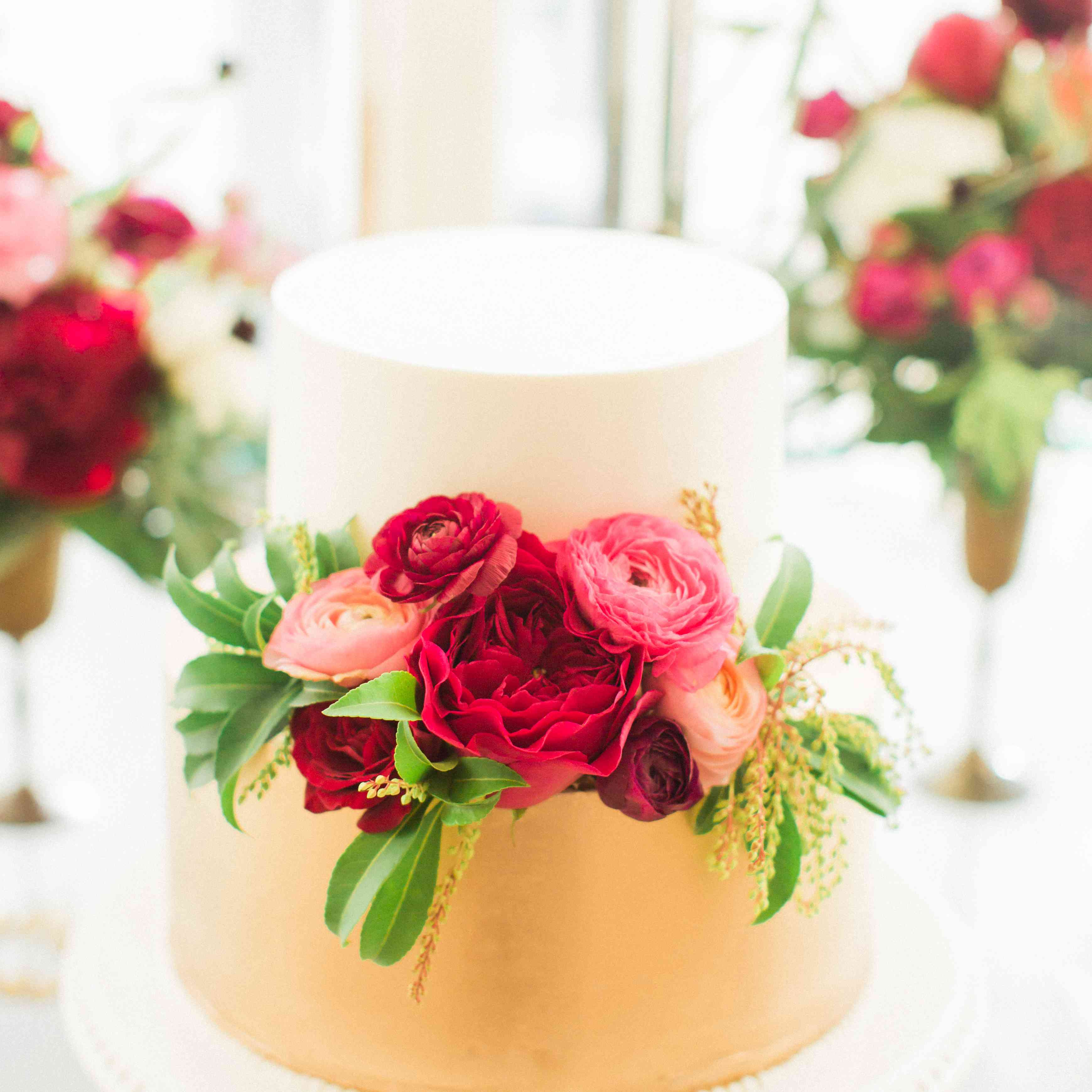 Two-Tiered White and Gold Wedding Cake
