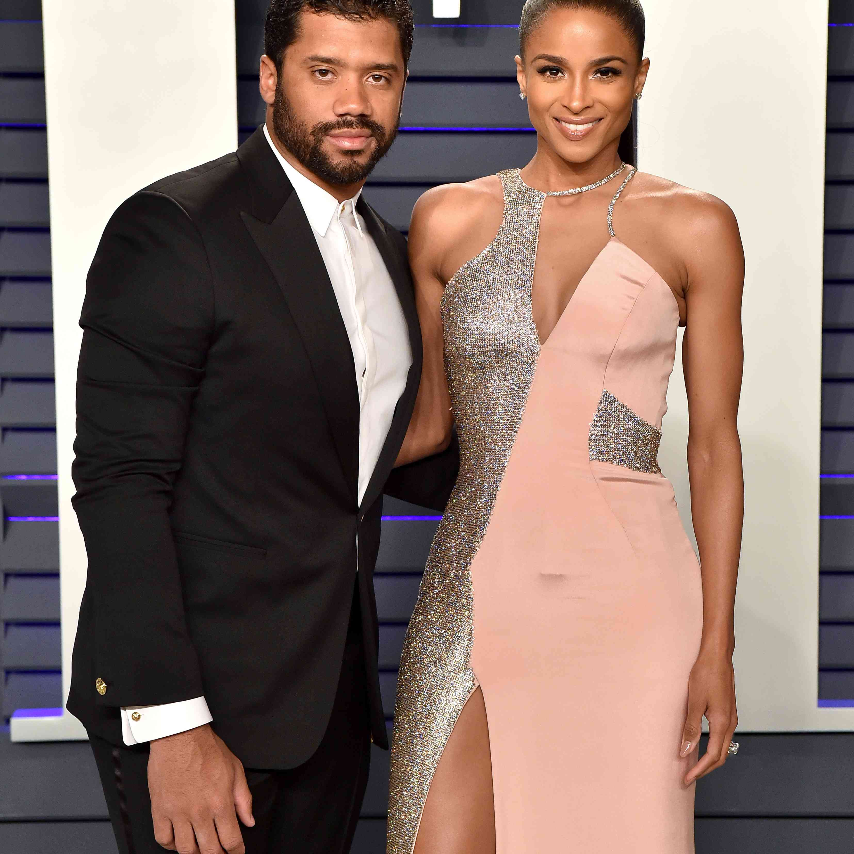 Russell Wilson and Ciara attend the Vanity Fair Oscar party.