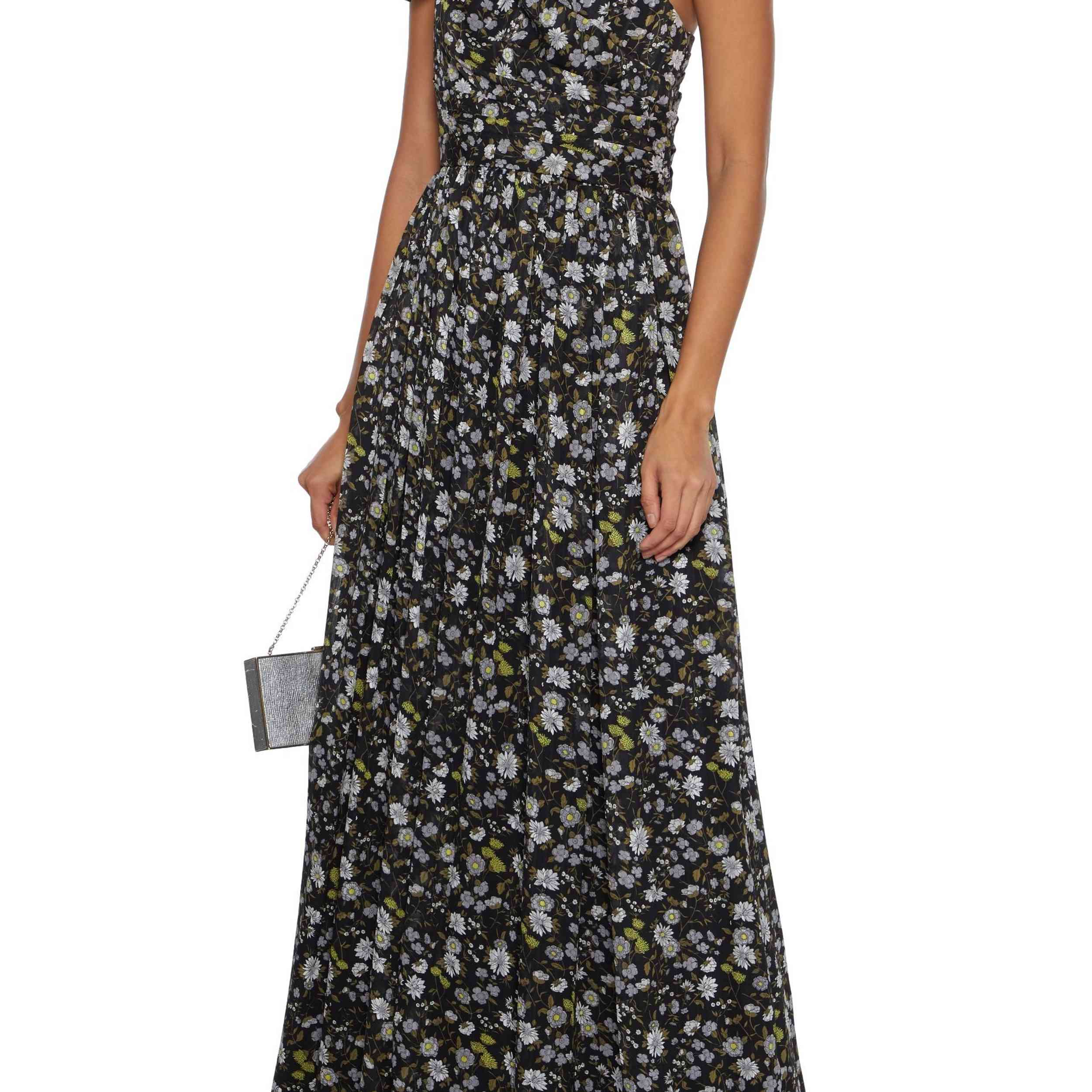 One-Shoulder Pleated Floral-Print Georgette Gown