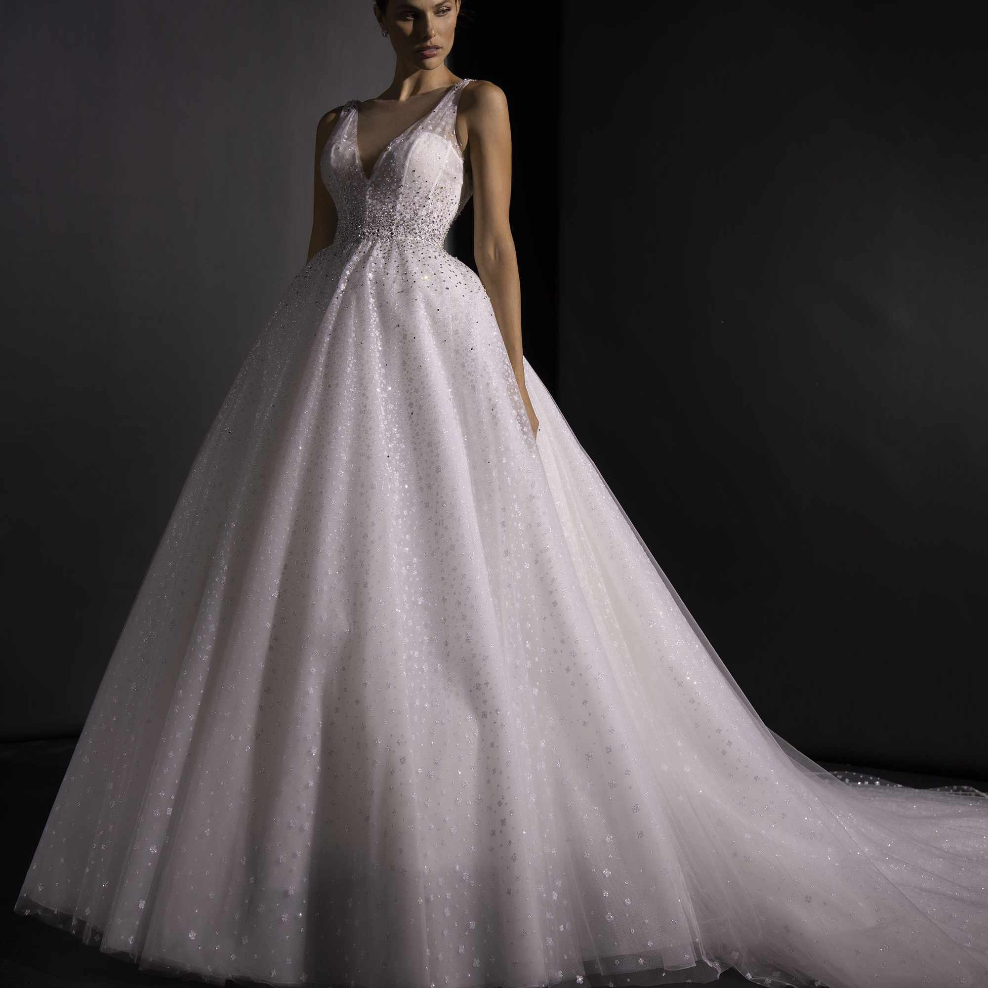 Model in sleeveless tulle ballgown with glitter and beading