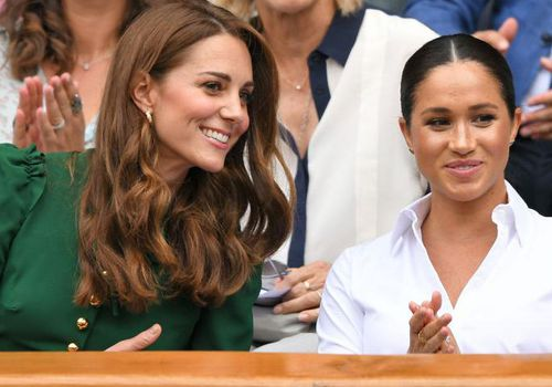 Kate Middleton and Meghan Markle arrive at Wimbledon.