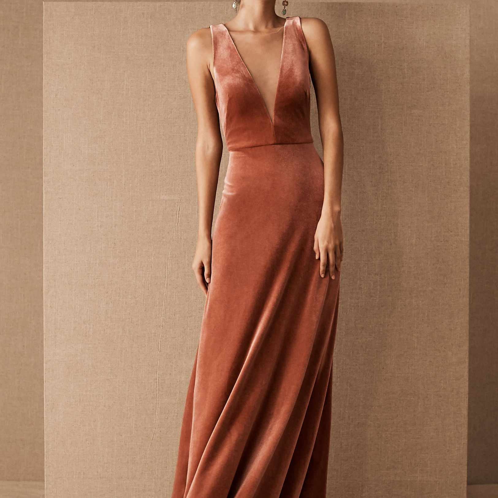 Jenny Yoo Logan Velvet Maxi Dress, $290