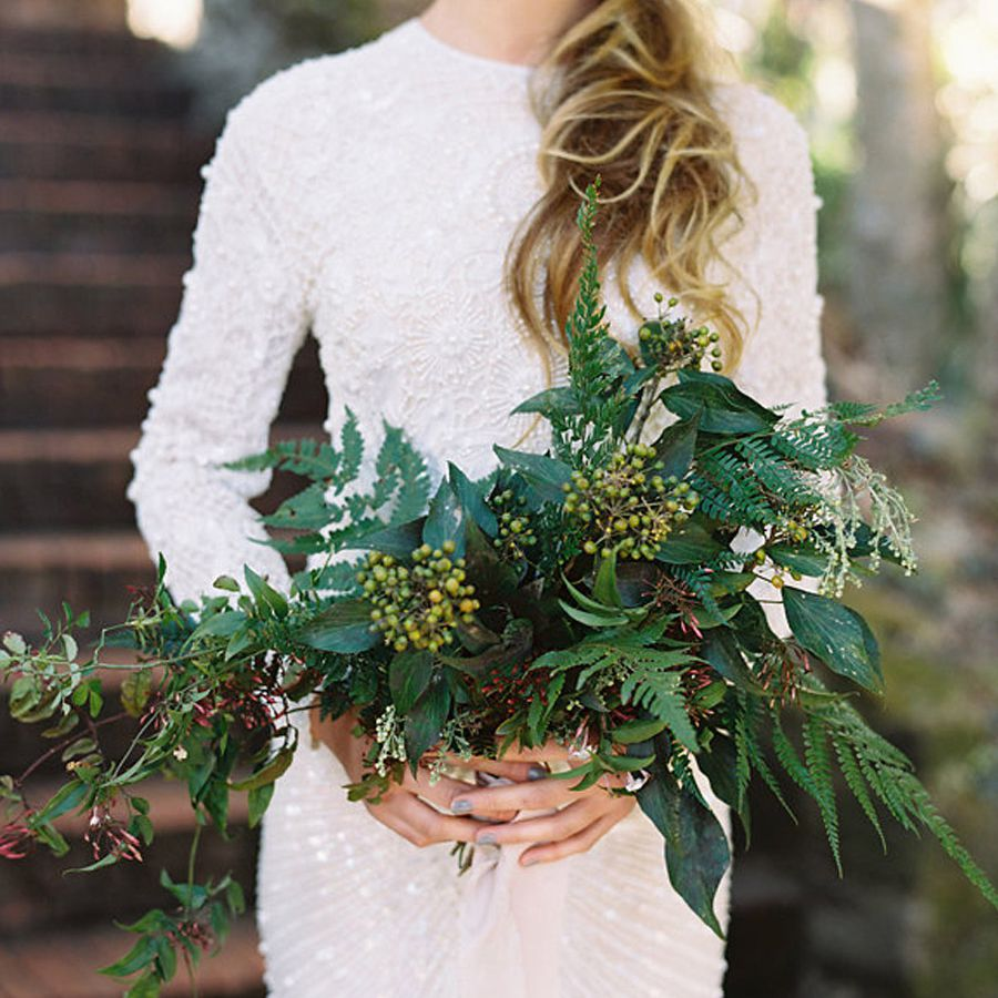Boho bouquet of greenery.