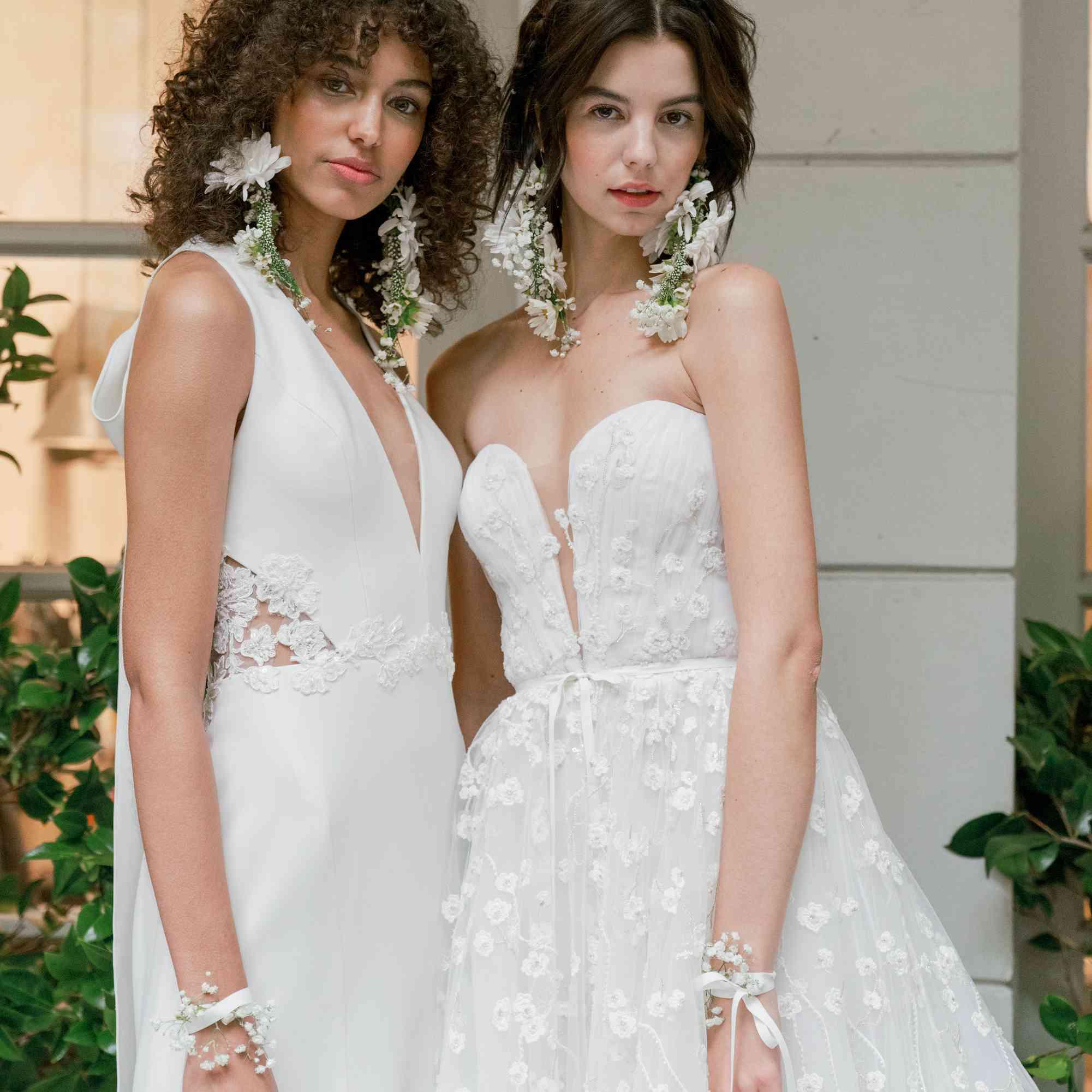 marchesa floral earrings bridal fall 2020
