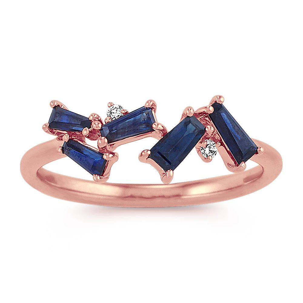 Shane Co. Rose Gold Ring With Sapphires and Diamonds