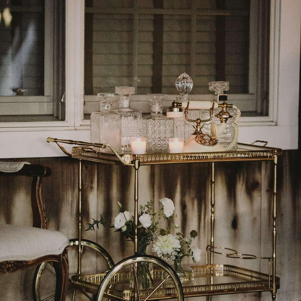 Vintage bar cart at wedding reception