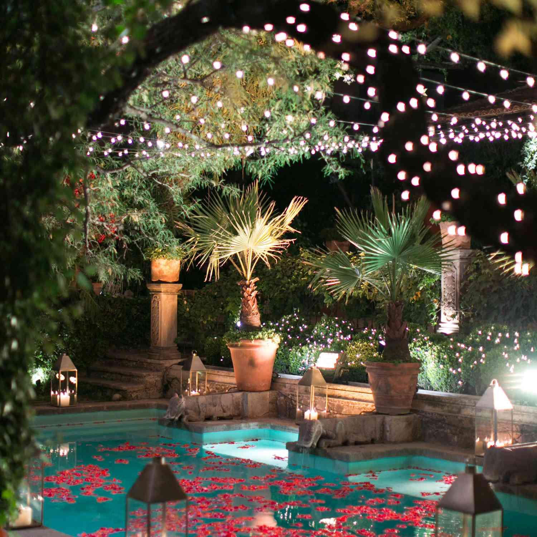 Lights above pool