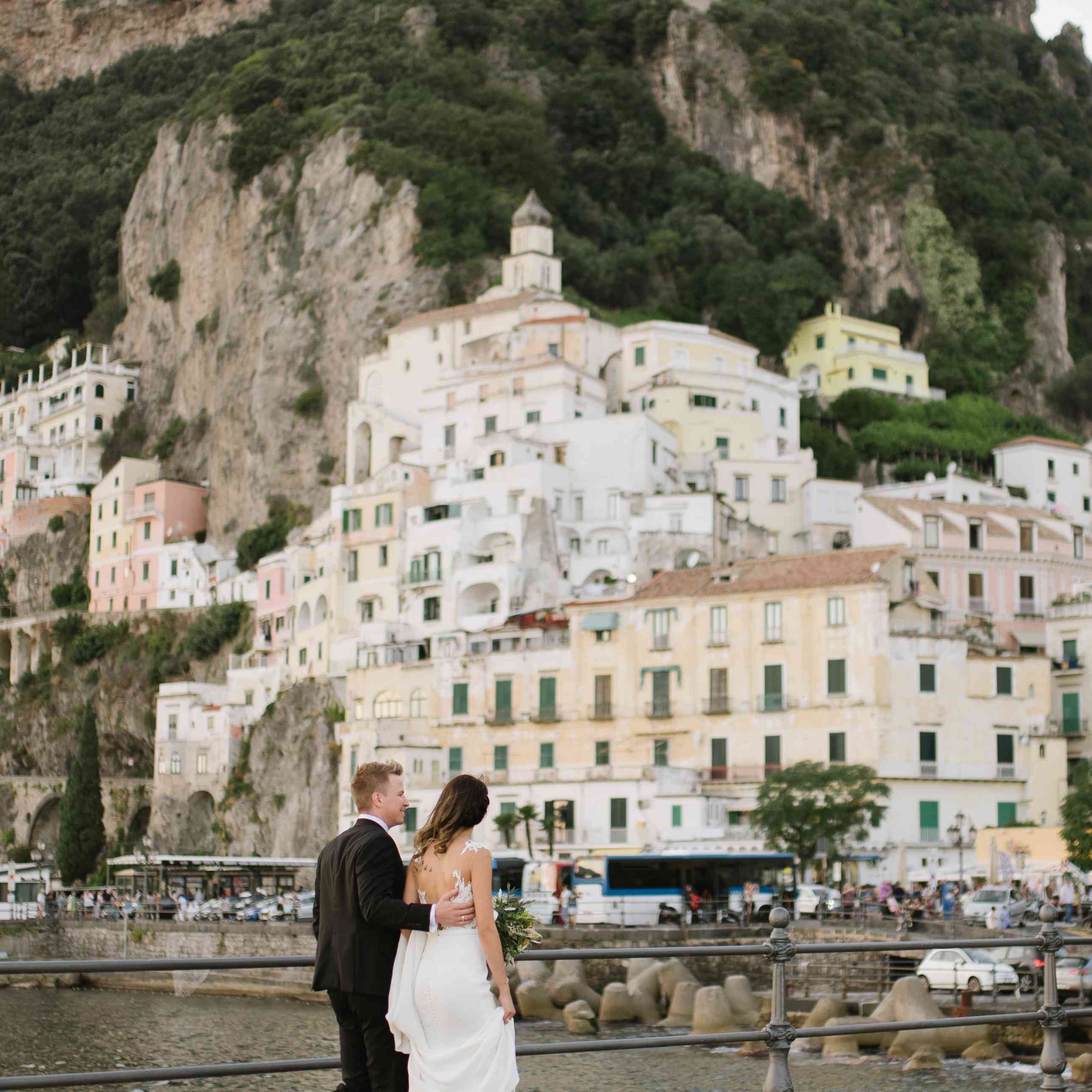 Bride and groom at Almalfi Coast