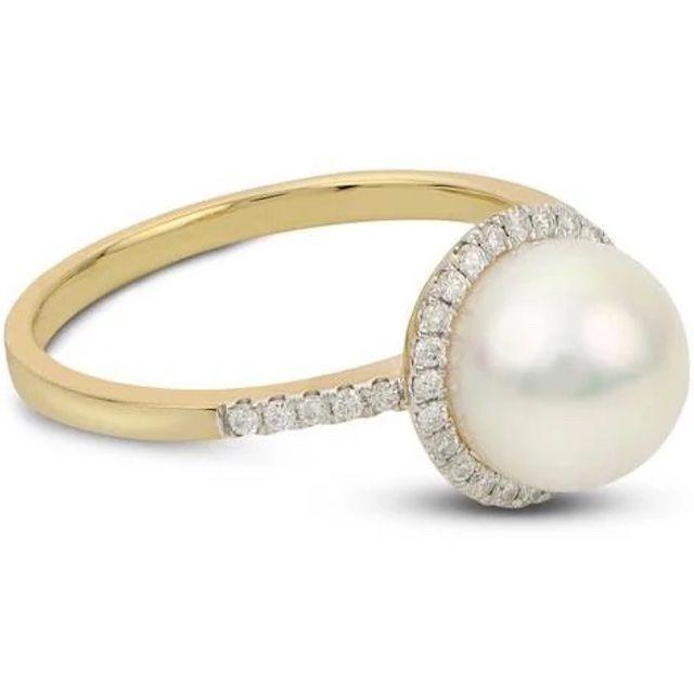 Jared Cultured Akoya Pearl Engagement Ring