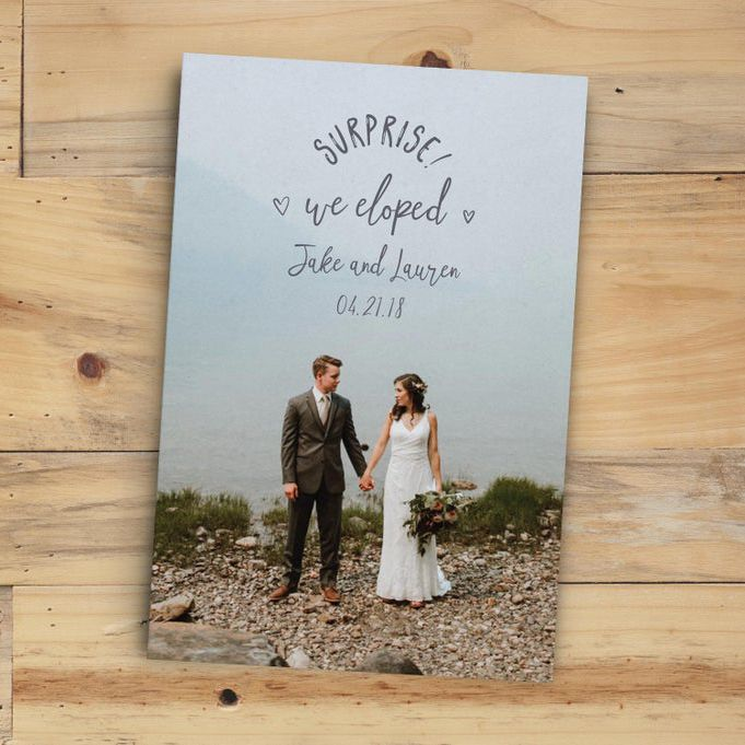 Whimsical Pixel Papery Surprise! We Eloped Elopement Announcement