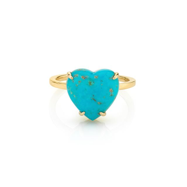 The Last Line Turquoise and Gold Heart Ring