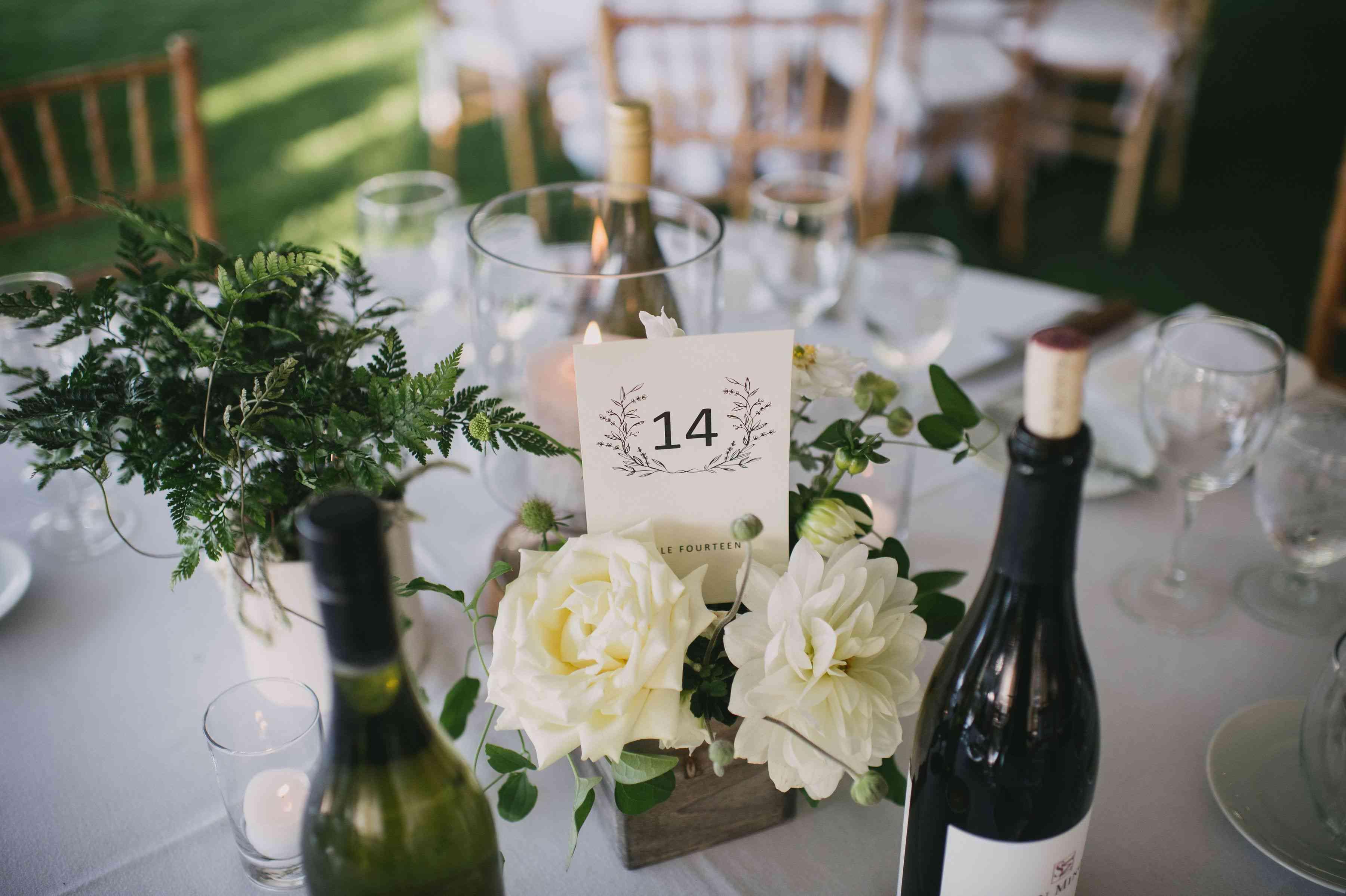 Table number in floral arrangement