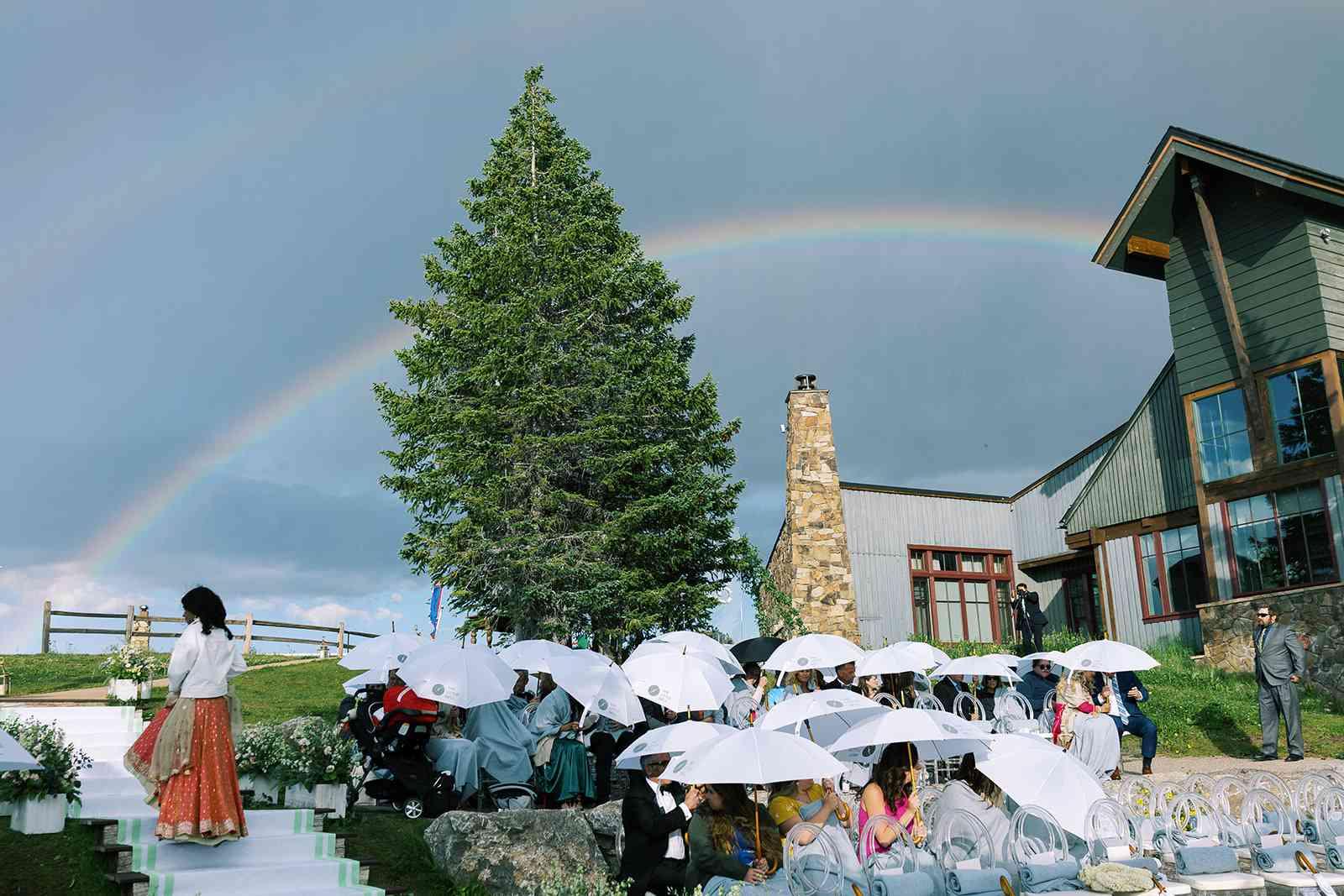 rainbow above wedding ceremony