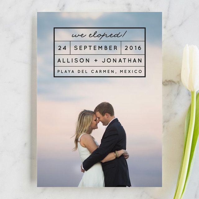 Photo Elopement Announcement Private Wedding Invite Minimalist Elopement Card Photo Wedding Announcement Template ELLA We Eloped Card