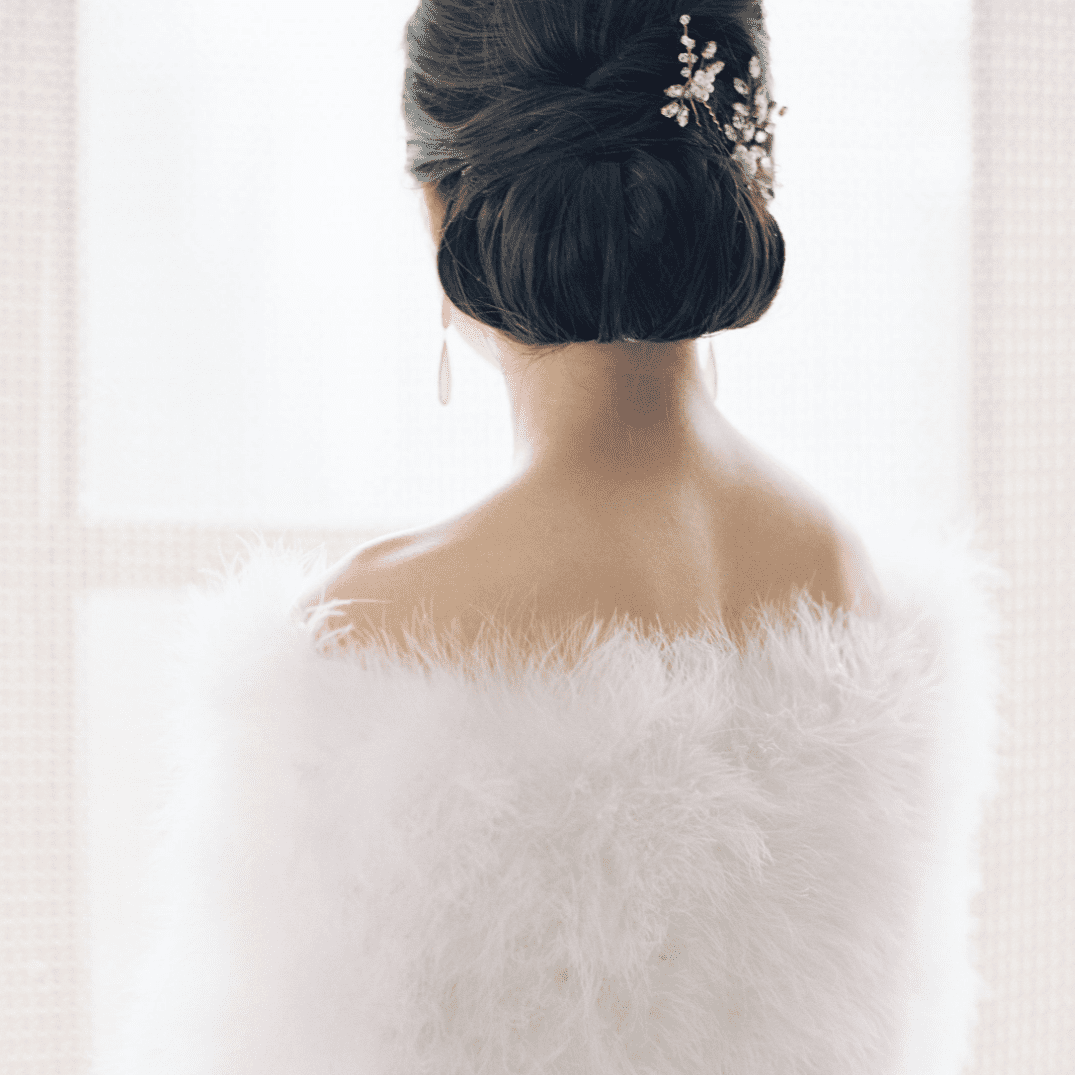 Low chignon with crystal hair pin