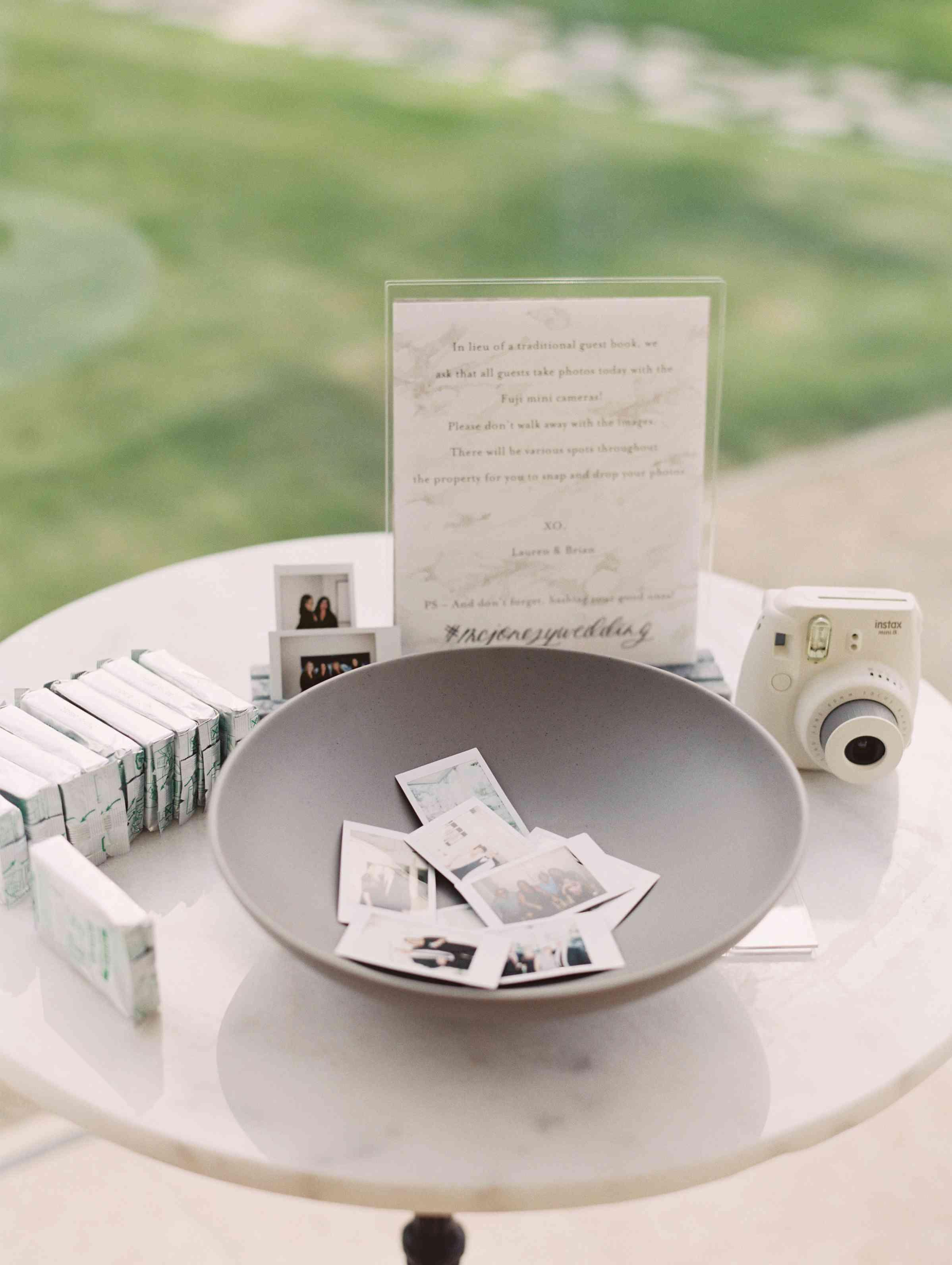 Polaroid selfie as wedding guest book