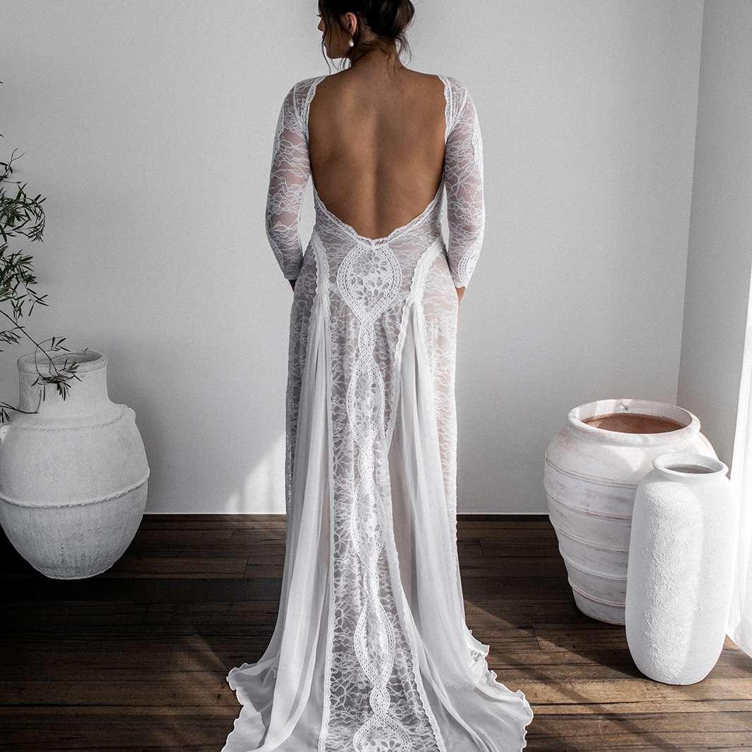 Inca long sleeve wedding gown