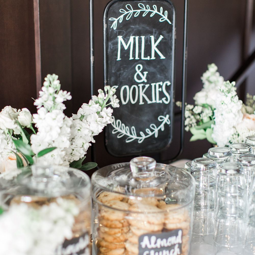 Milk and cookies set up for a wedding