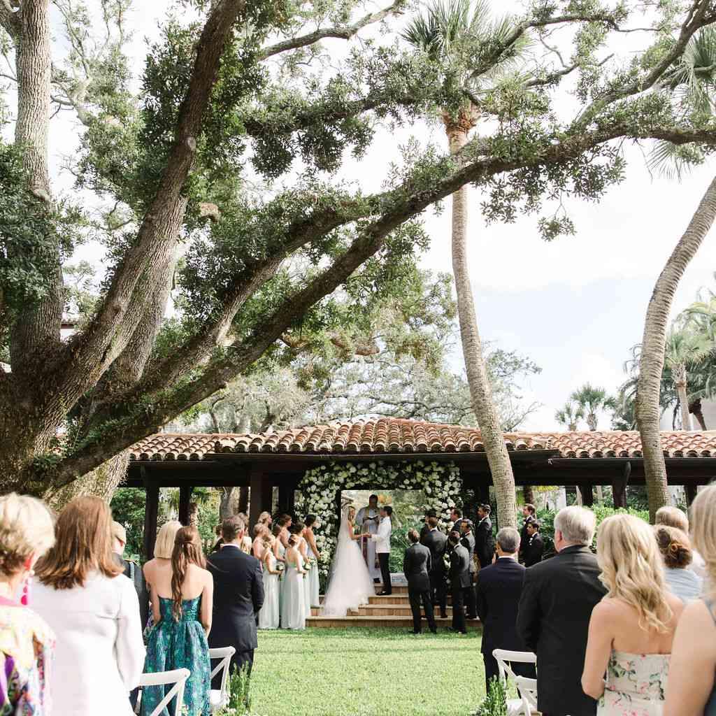 timeless southern wedding, garden ceremony