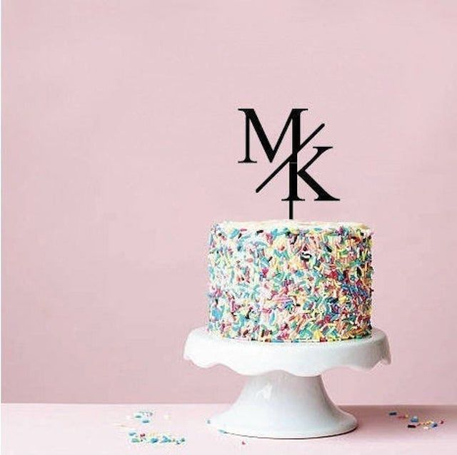 Custom Initials Modern Slash Cake Topper