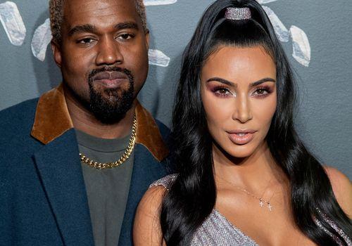 Close-up of Kanye West and Kim Kardashian