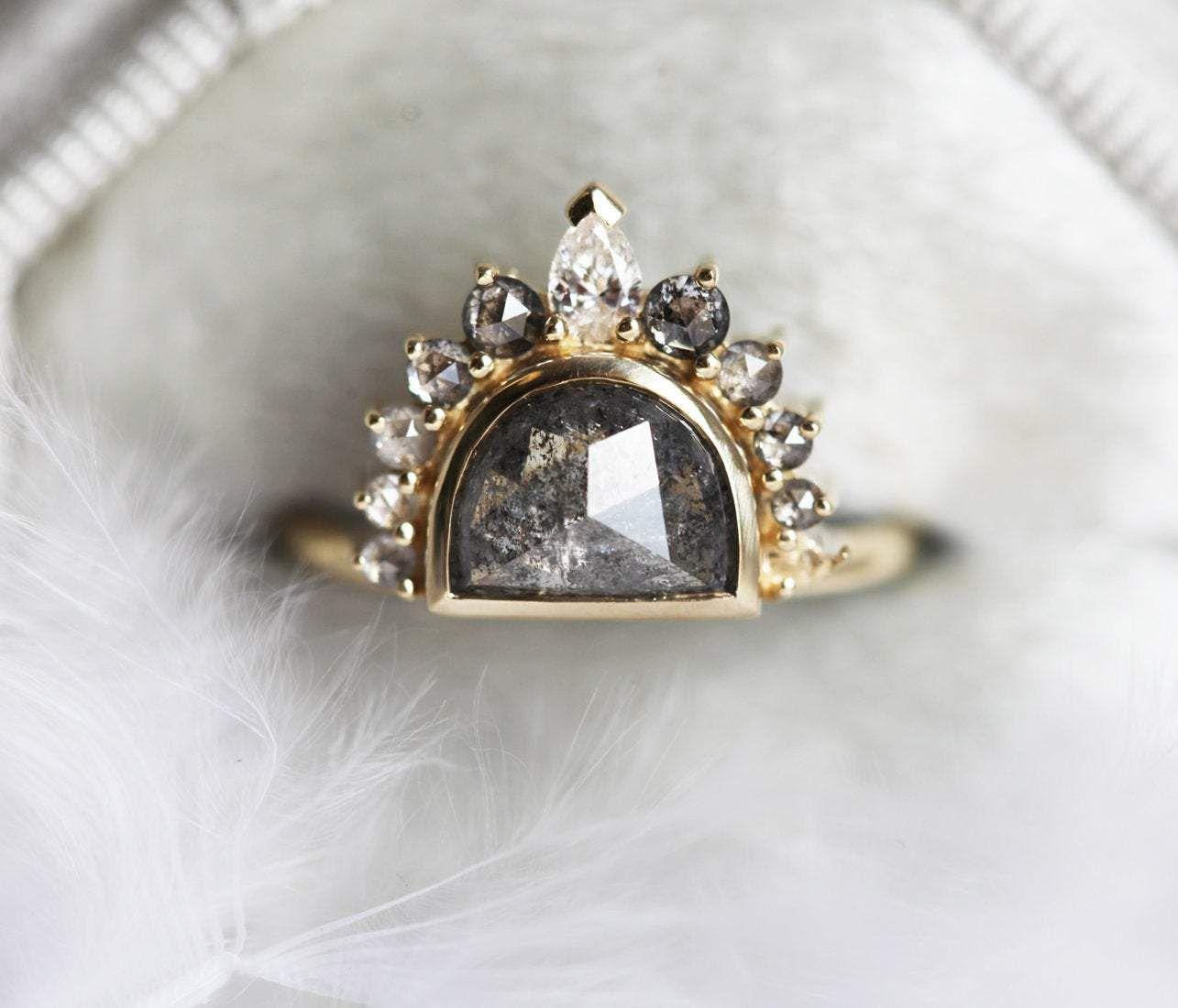 Capucinne Sunrise Salt and Pepper Diamond Ring