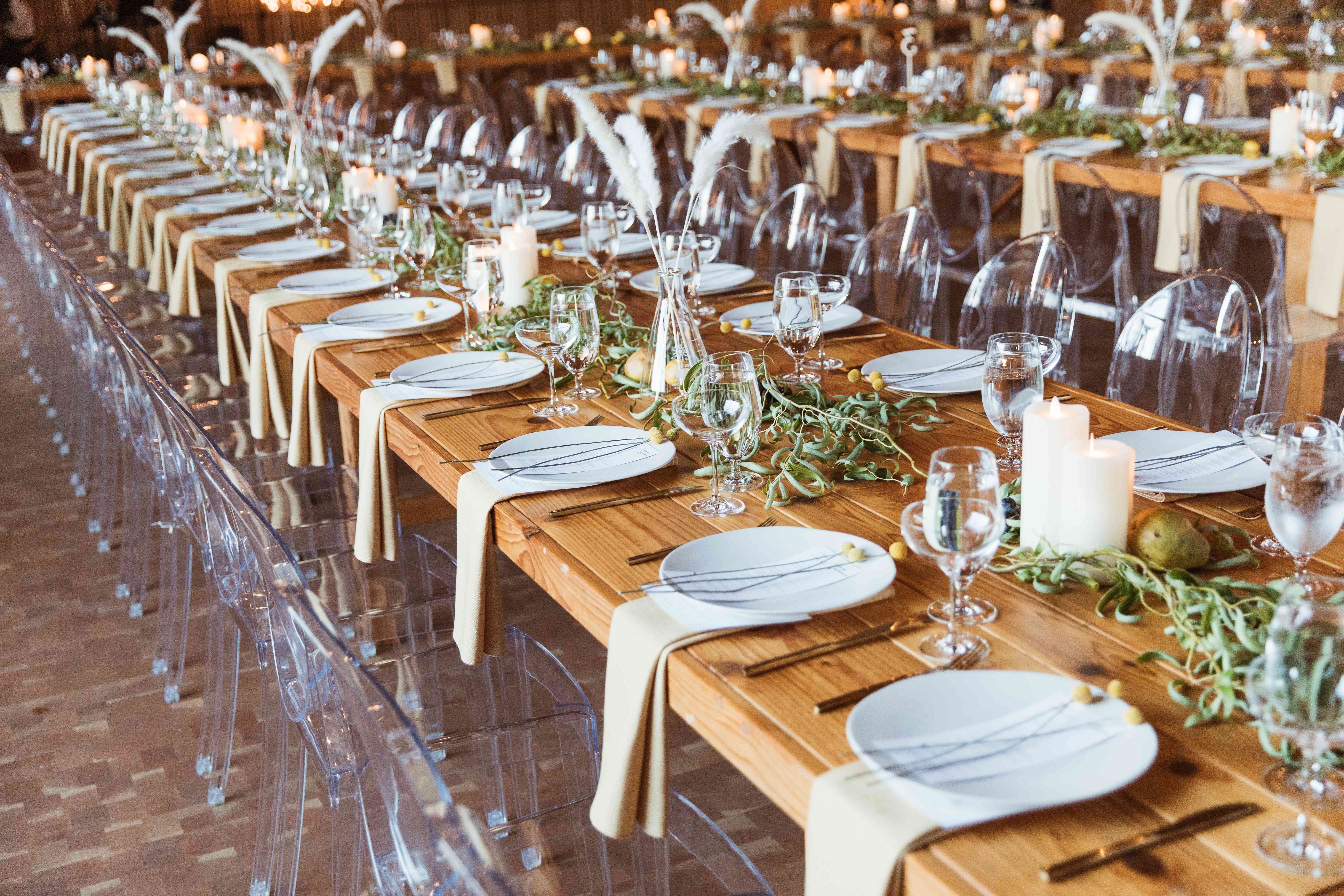 tablescape clear chairs long wood tables