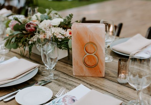 Pink salt block table numbers