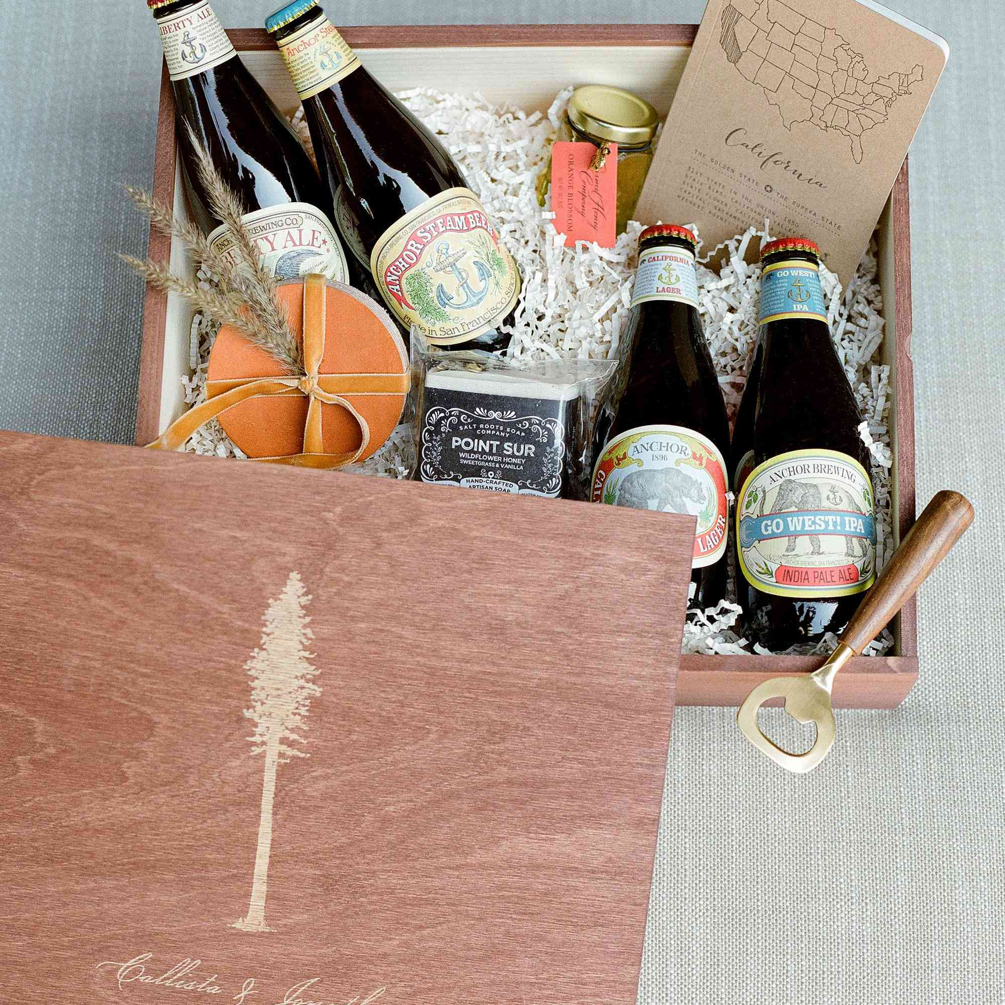Wedding welcome box including autumnal food and drink