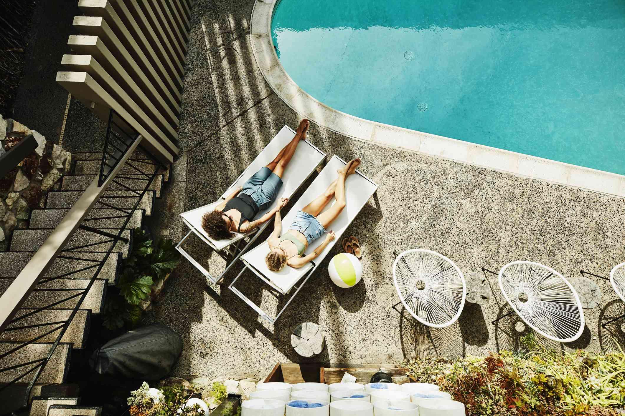 women by pool