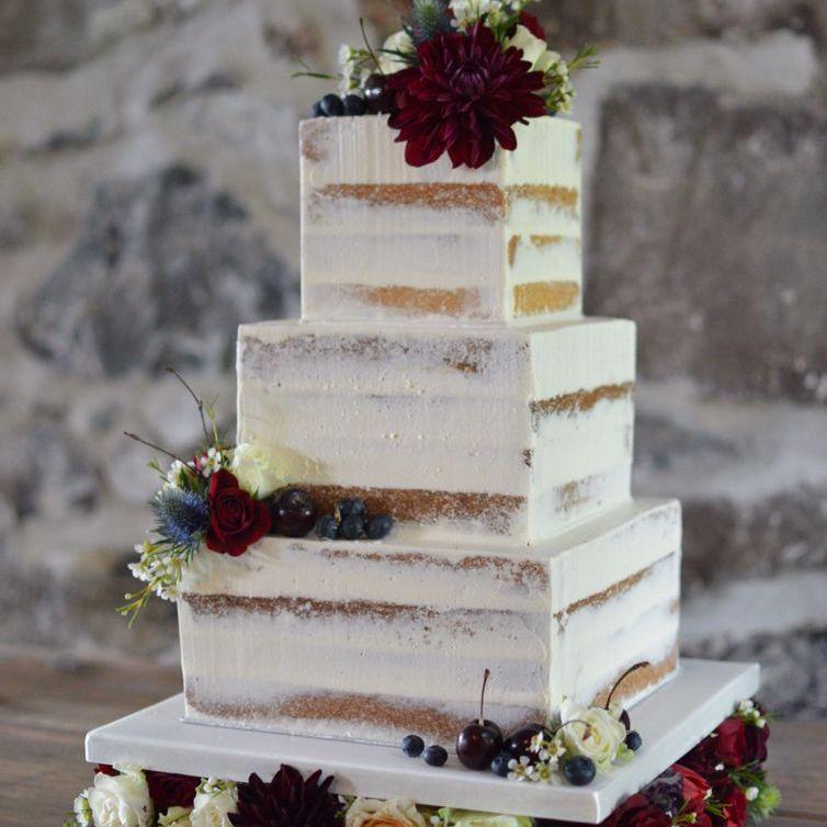 Naked square wedding cake