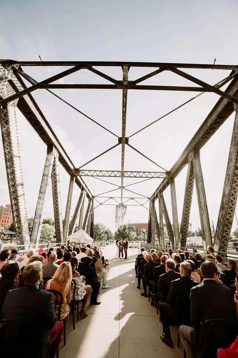 Wedding ceremony on a bridge