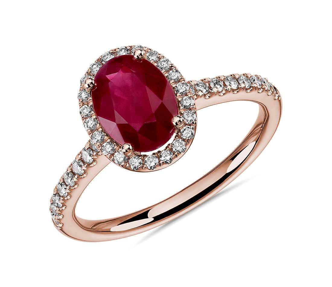 Blue Nile Oval Ruby and Round Diamond Halo Ring