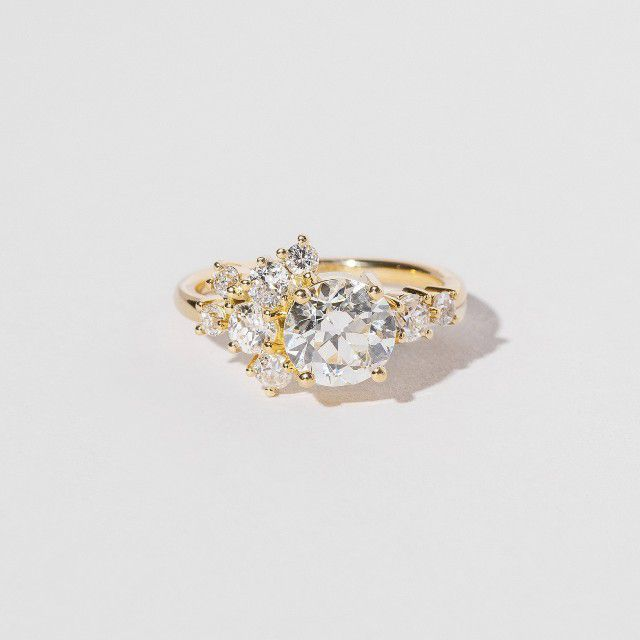 diamond and gold cluster ring