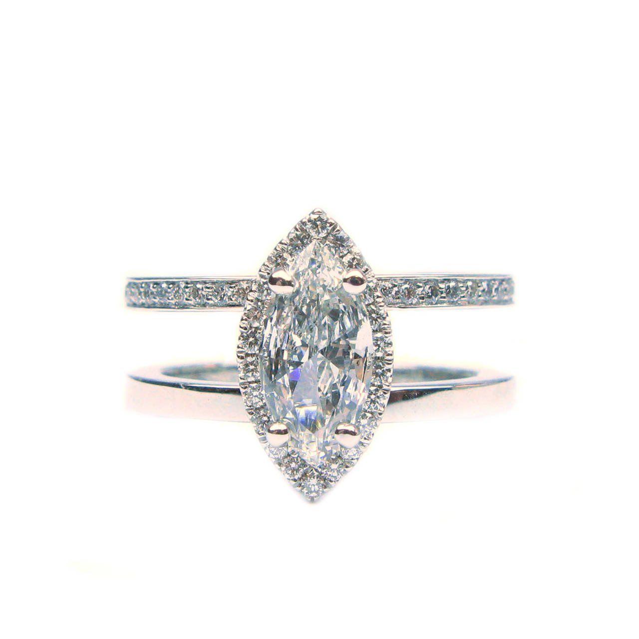 J. Birnbach 1.15 Carat Total Marquise Diamond Frame Ring