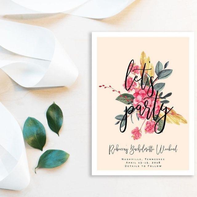 GrayPaperieCo Custom Floral Blush Bachelorette Party Invitation