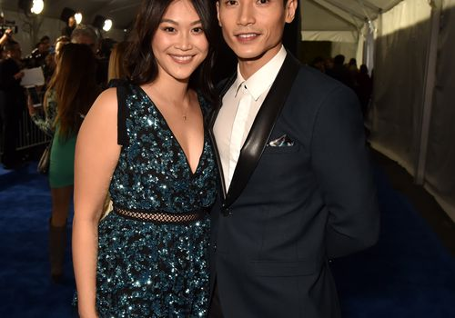 woman and man on red carpet