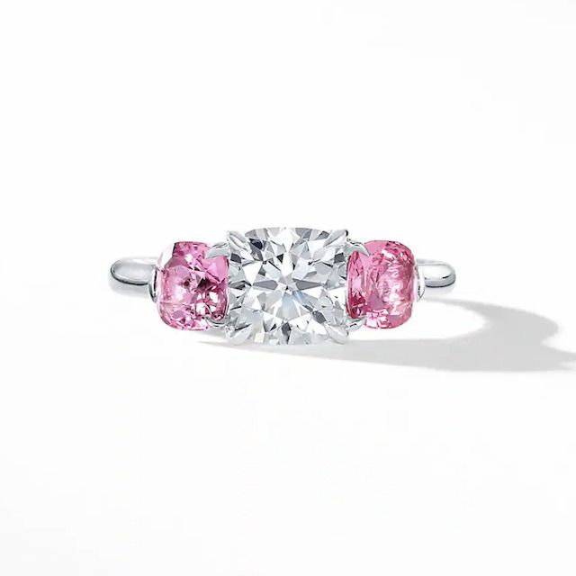 DY Three Stone Engagement Ring in Platinum with Pink Sapphires, Cushion