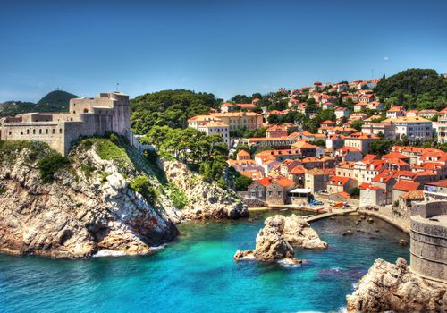 Old Fortress in Dubrovnik Harbor, Croatia.