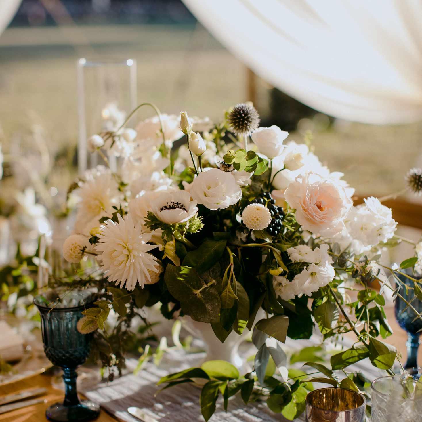 at-home rustic massachusetts wedding, reception flower centerpieces