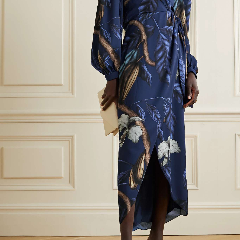 Johanna Ortiz Reino Vegetal Printed Recycled Satin Wrap Midi Dress
