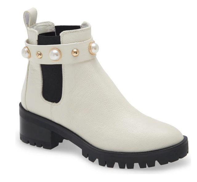 Karl Lagerfeld Paris Pola Imitation Pearl Chelsea Bootie