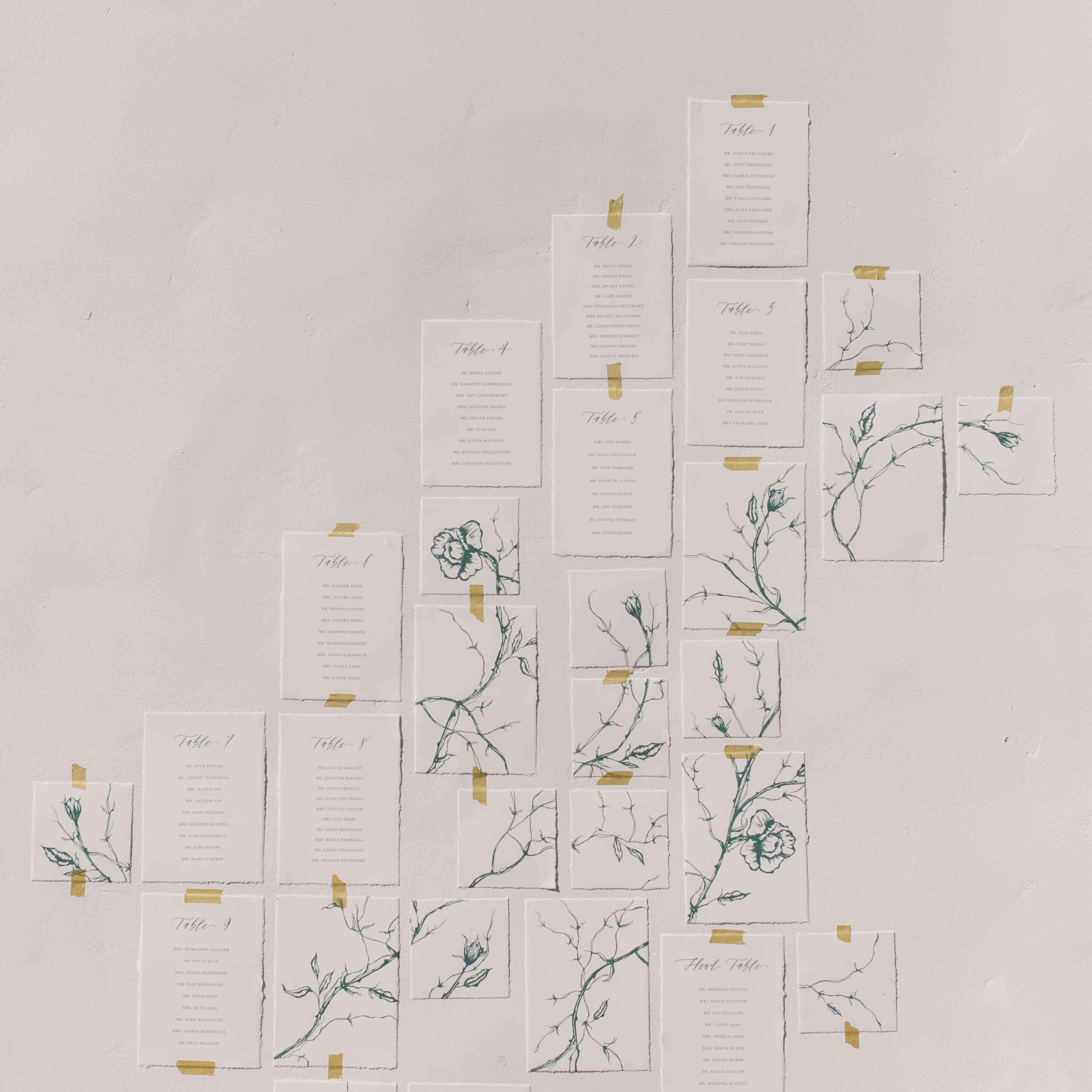 rose branch escort card display