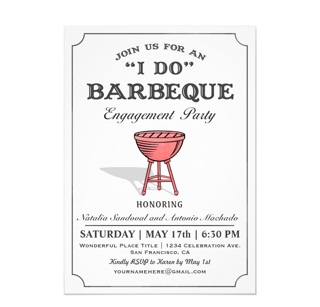 Barbecue engagement party invitation